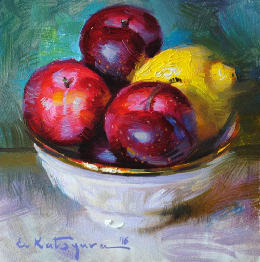"""Plums and Lemon"" original fine art by Elena Katsyura"