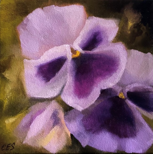 """Lavender Pansies"" original fine art by Christine E. S. Code"