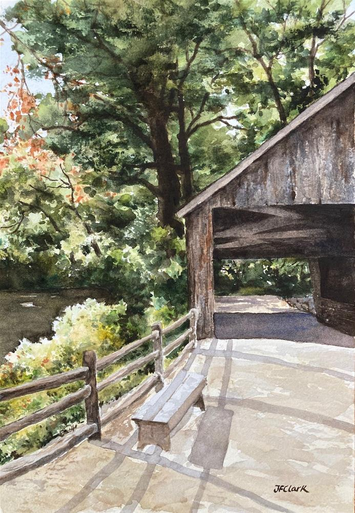 """Bench by the Bridge, Old Sturbridge Village"" original fine art by Judith Freeman Clark"