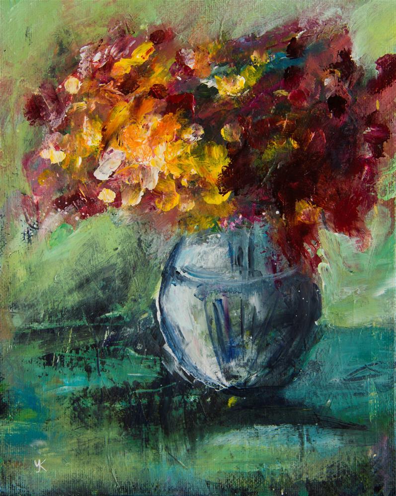 """Flowers in a vase"" original fine art by Yulia Kazansky"
