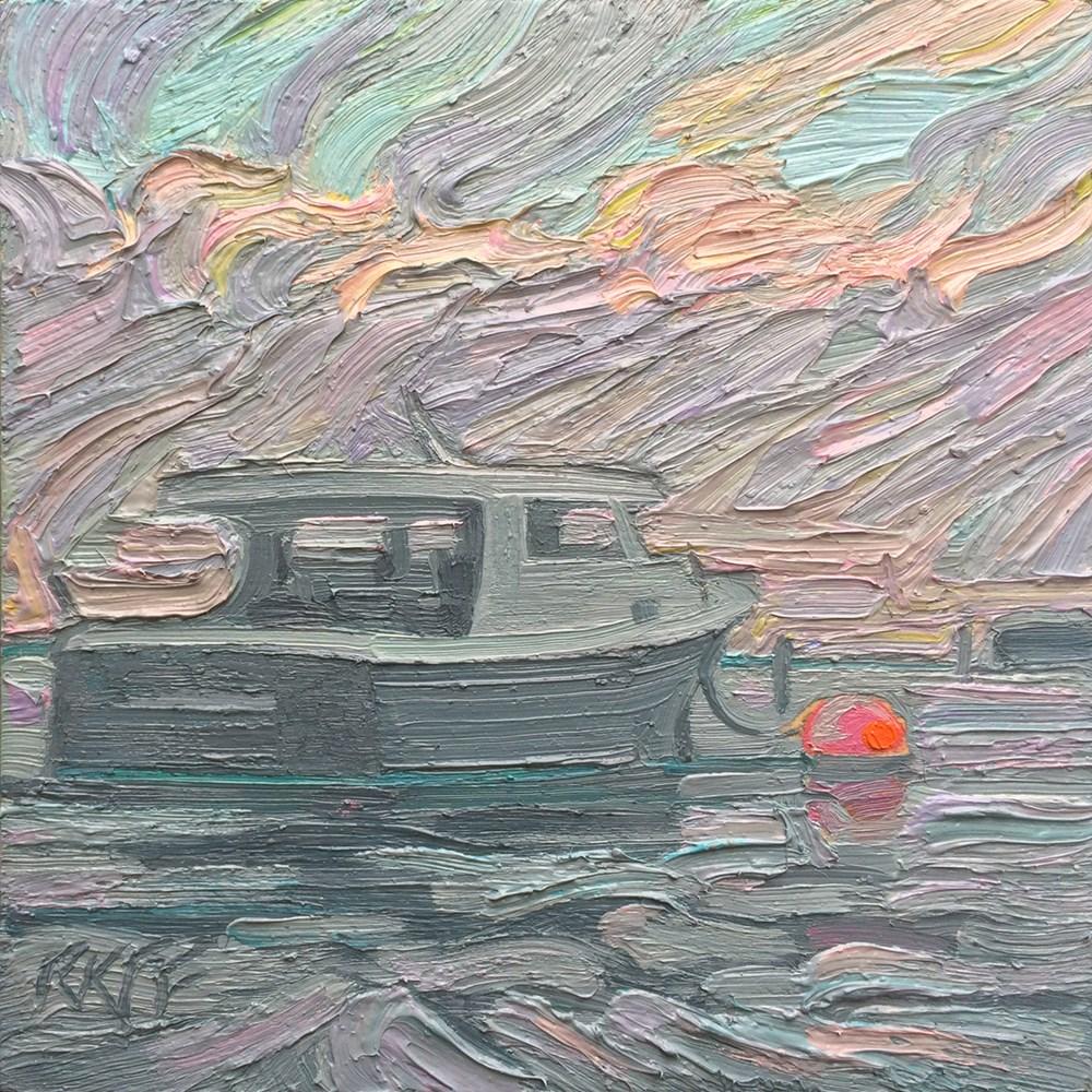 """Late Evening Light: 6x6 oil on panel"" original fine art by Ken Faulks"