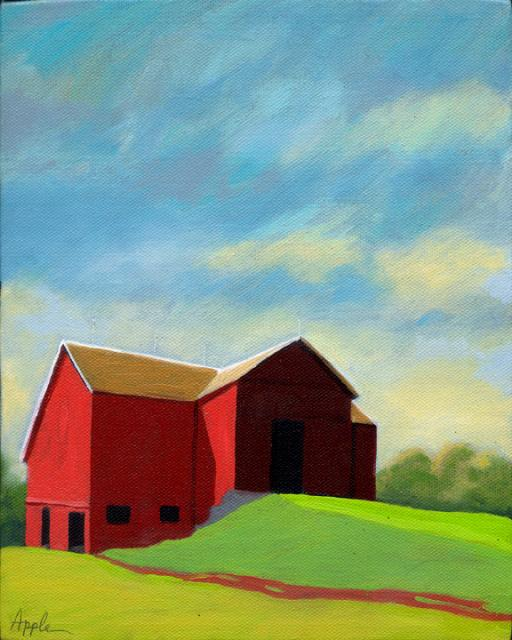 """Old Red Barn"" original fine art by Linda Apple"