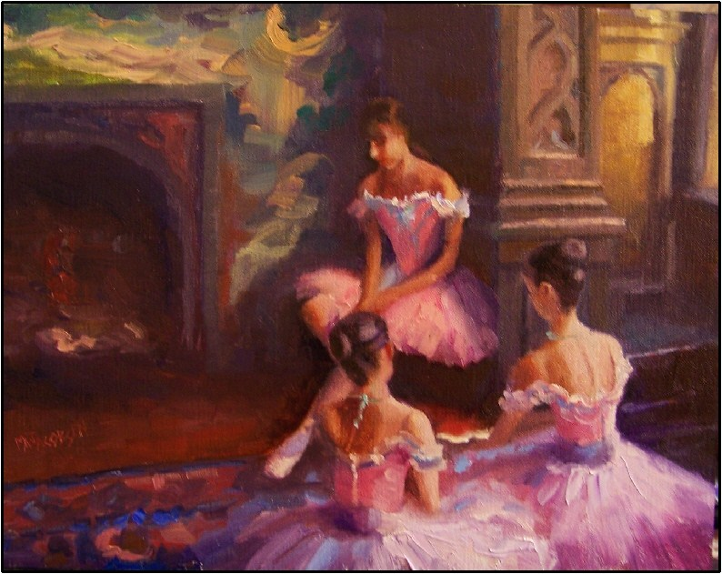 """Contemplation, 14x 11, oil on linen, paintings of dancers, ballerinas young dancers"" original fine art by Maryanne Jacobsen"
