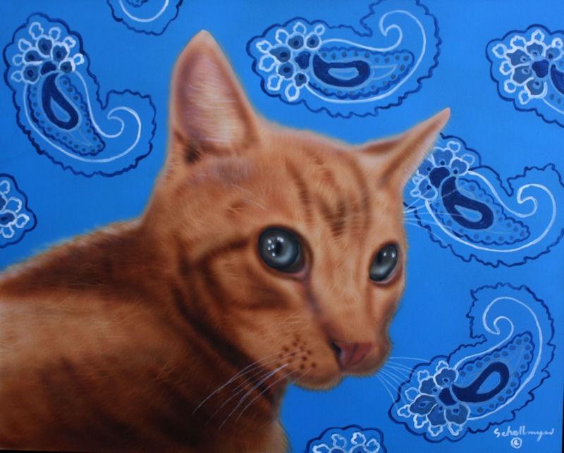 """Paisley Feline"" original fine art by Fred Schollmeyer"