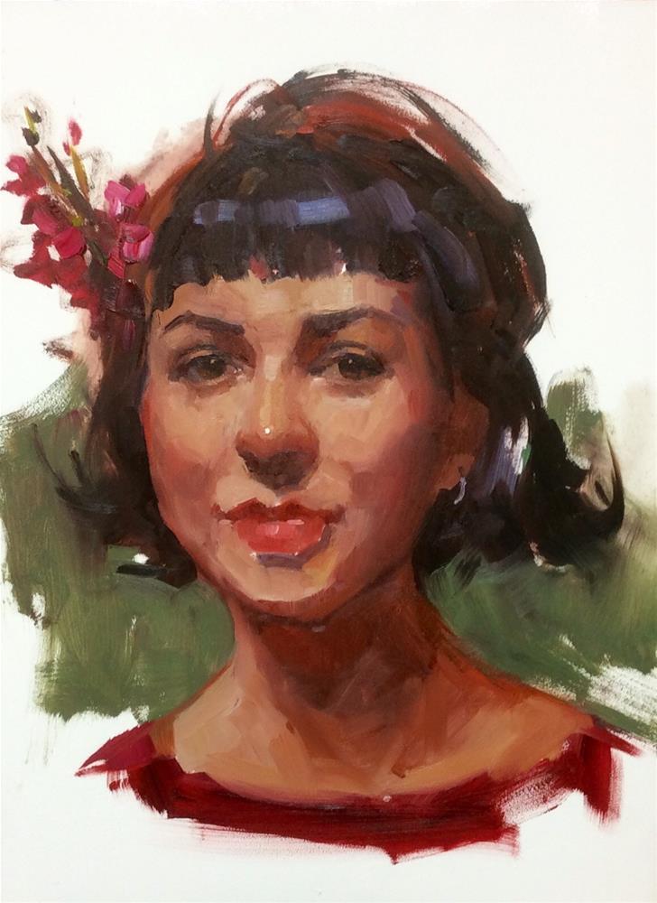 """A flower in her Hair"" original fine art by Laurie Johnson Lepkowska"
