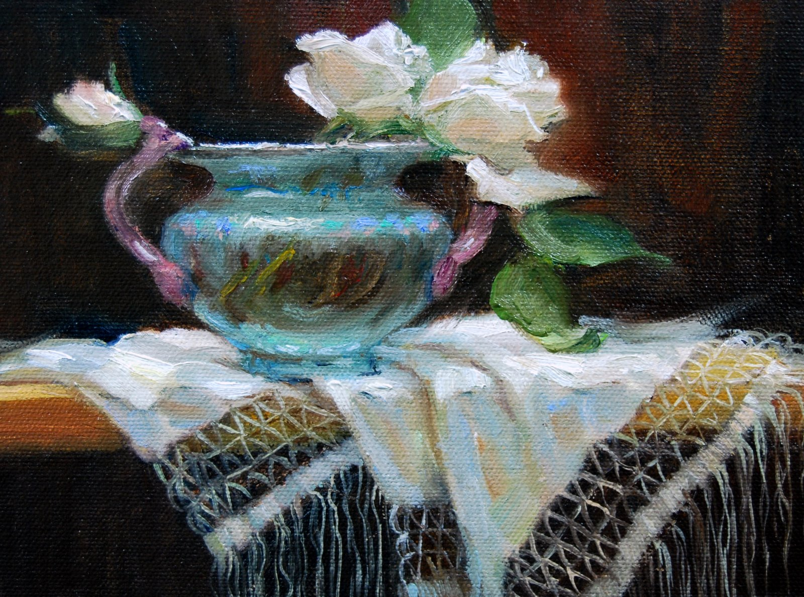 """""""Ancient Glass with Three Roses"""" original fine art by Julie Ford Oliver"""