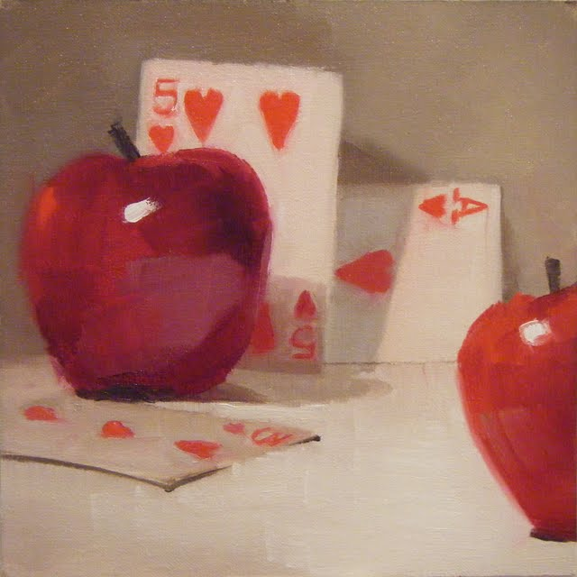 """APPLES 'N HEARTS"" original fine art by Helen Cooper"