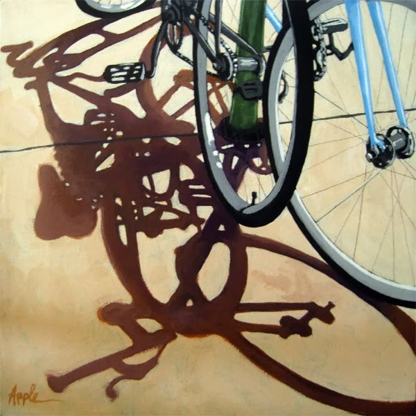 """Two Bicycles cycling street biking art realism oil painting"" original fine art by Linda Apple"
