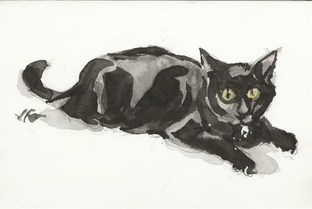 """Daily Cat 165"" original fine art by Jean Krueger"