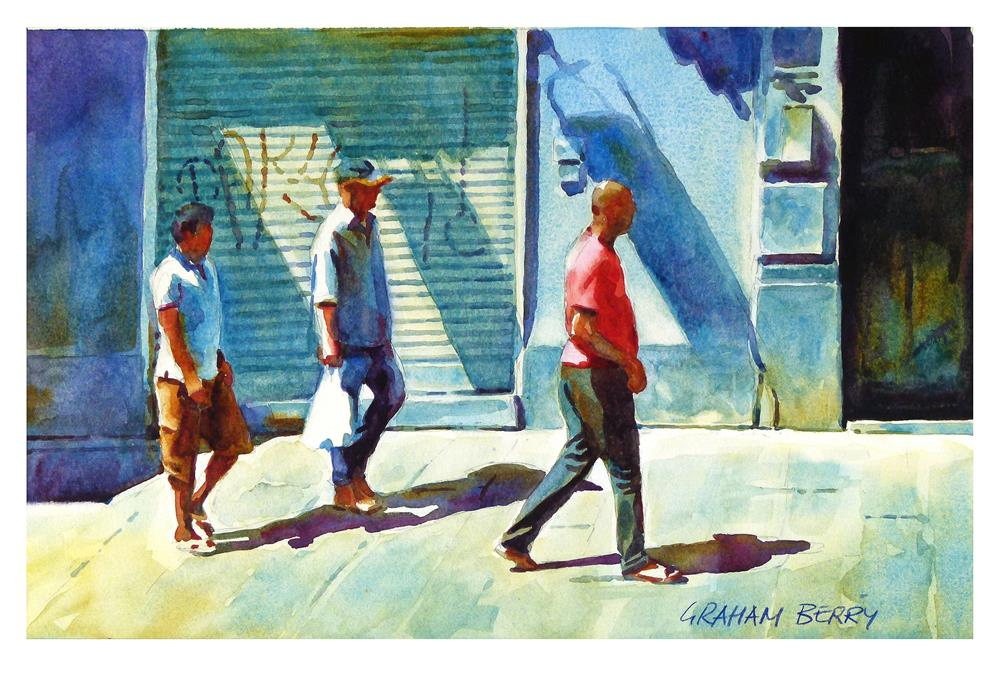 """Three men walking."" original fine art by Graham Berry"