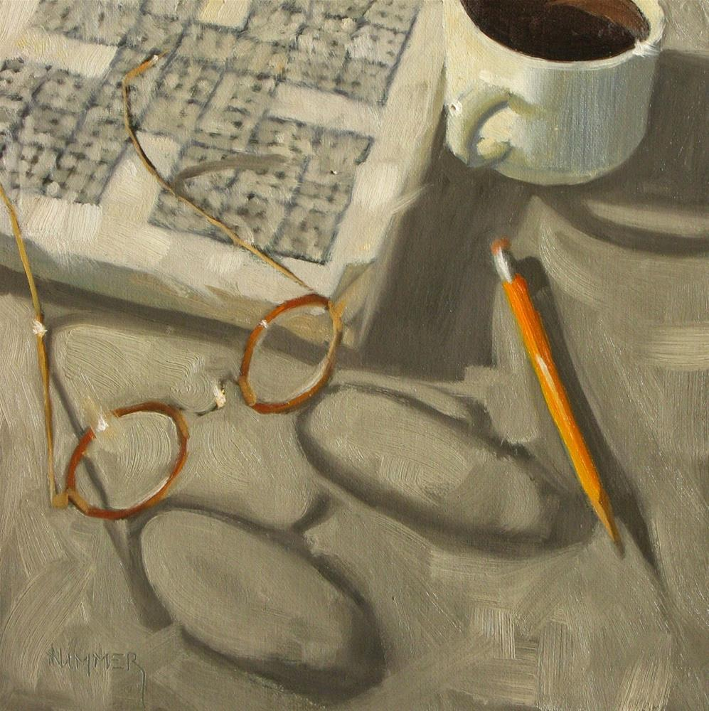 """Ah, Sudoku  8 x 8 oil"" original fine art by Claudia Hammer"