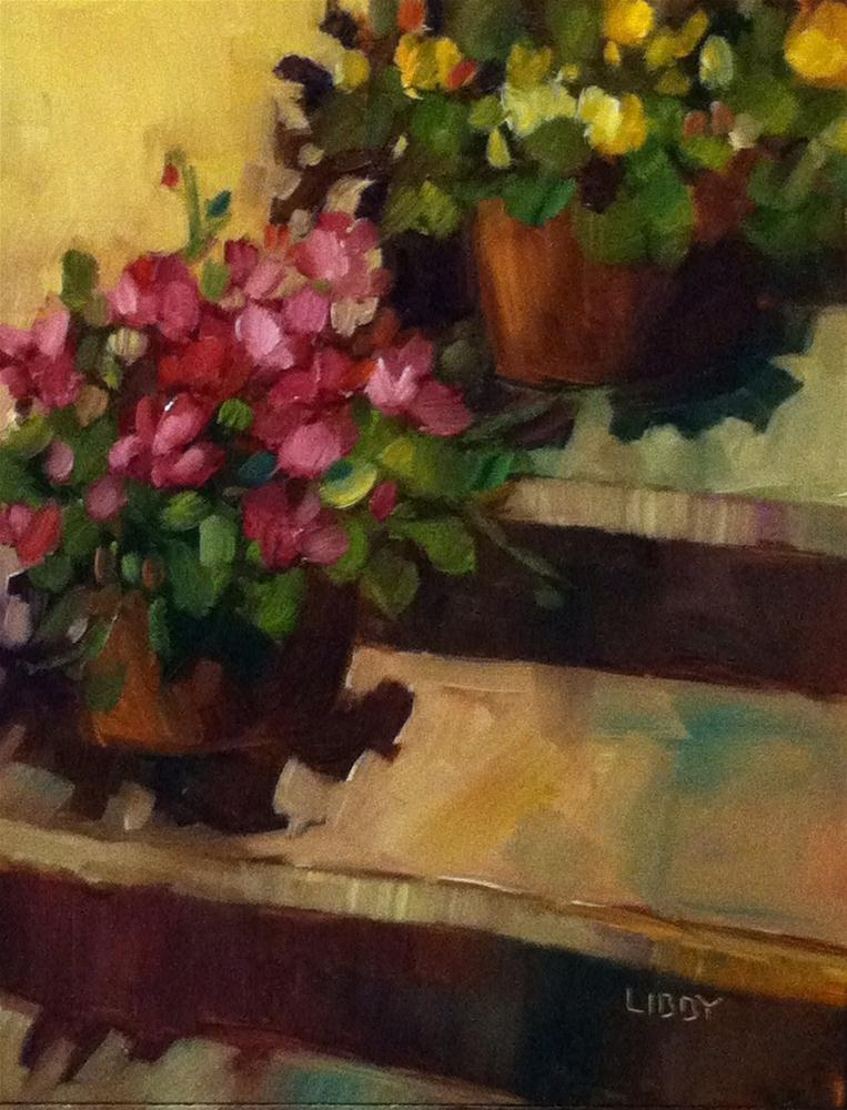 """""""Resting on the Steps"""" original fine art by Libby Anderson"""