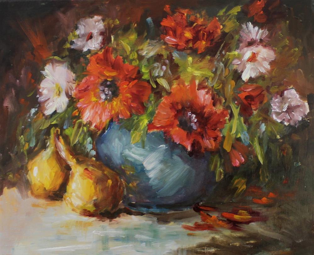 """Original oil floral flower poppy daisy painting"" original fine art by Alice Harpel"