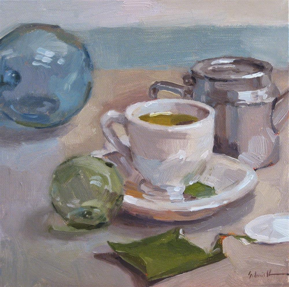 """Floats and Tea: An Oregon Coast Still Life"" original fine art by Sarah Sedwick"