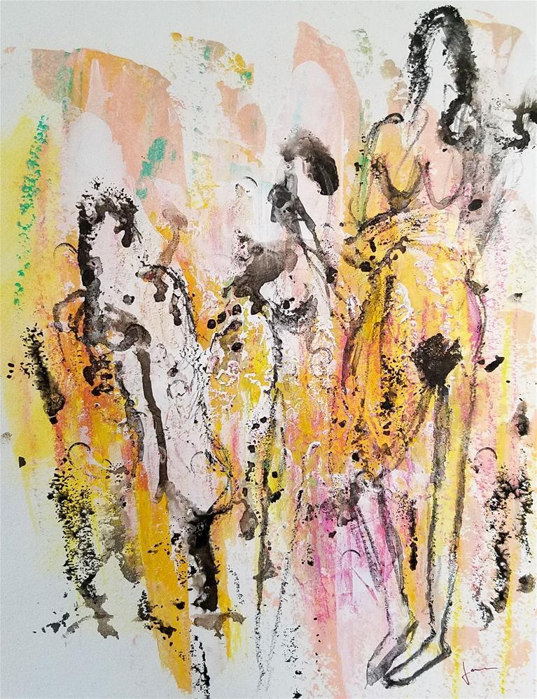 """""""Three Figures"""" original fine art by Janet Gunderson"""