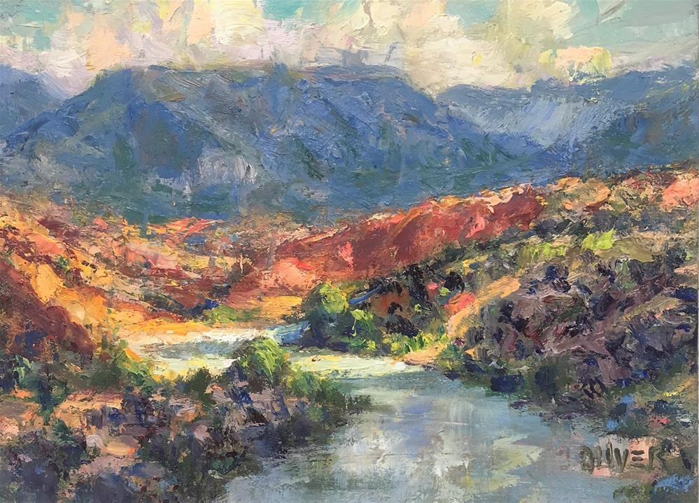 """The Rio Chama, Abiquiu, N.M."" original fine art by Julie Ford Oliver"
