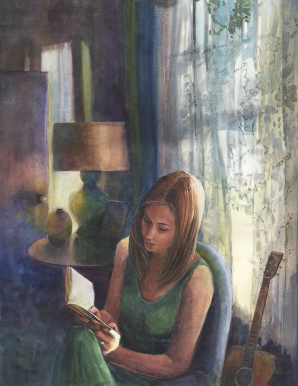 """""""Watercolor: Novella (& an essay on the distraction of email)"""" original fine art by Belinda Del Pesco"""