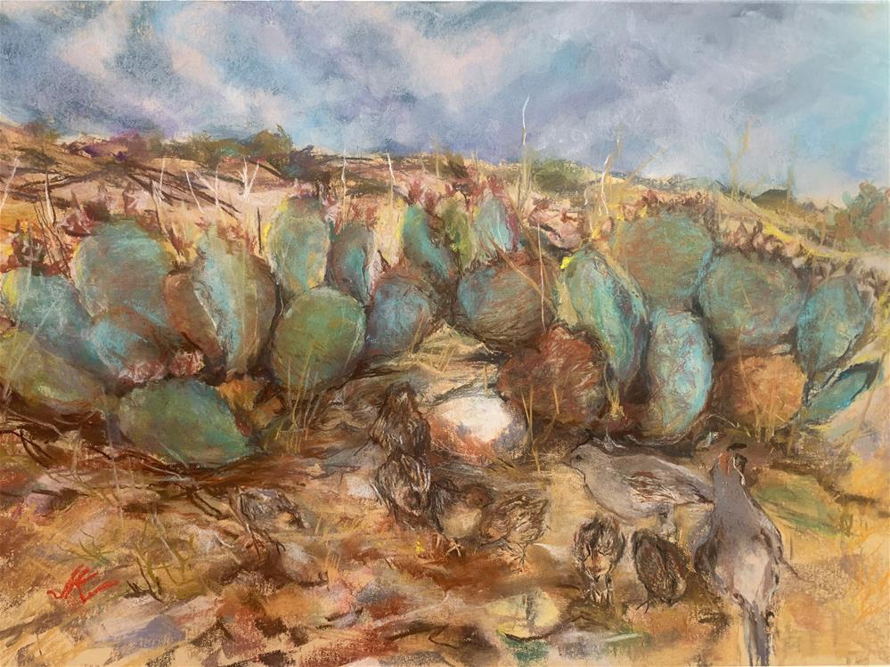 """Earth Quail Cactus Sky"" original fine art by Jean Krueger"
