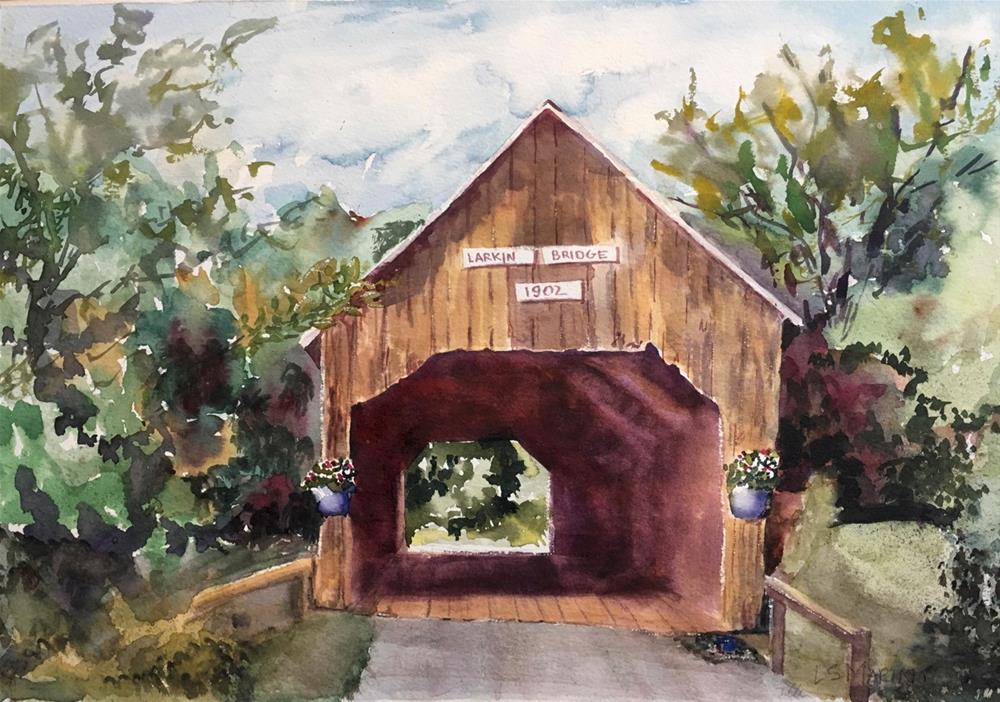 """Vermont Covered Bridge"" original fine art by Linda Marino"