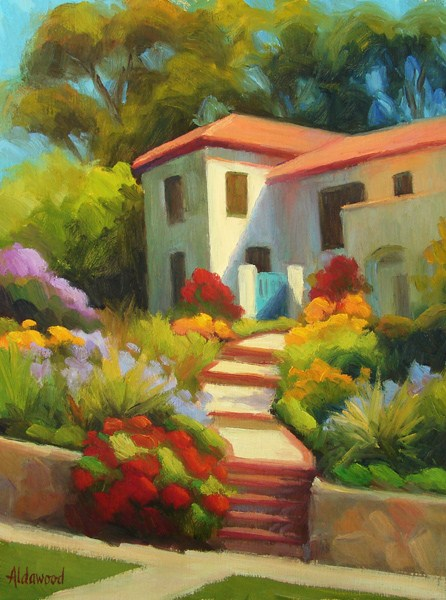 """House on a Hill-Santa Barbara"" original fine art by Sherri Aldawood"