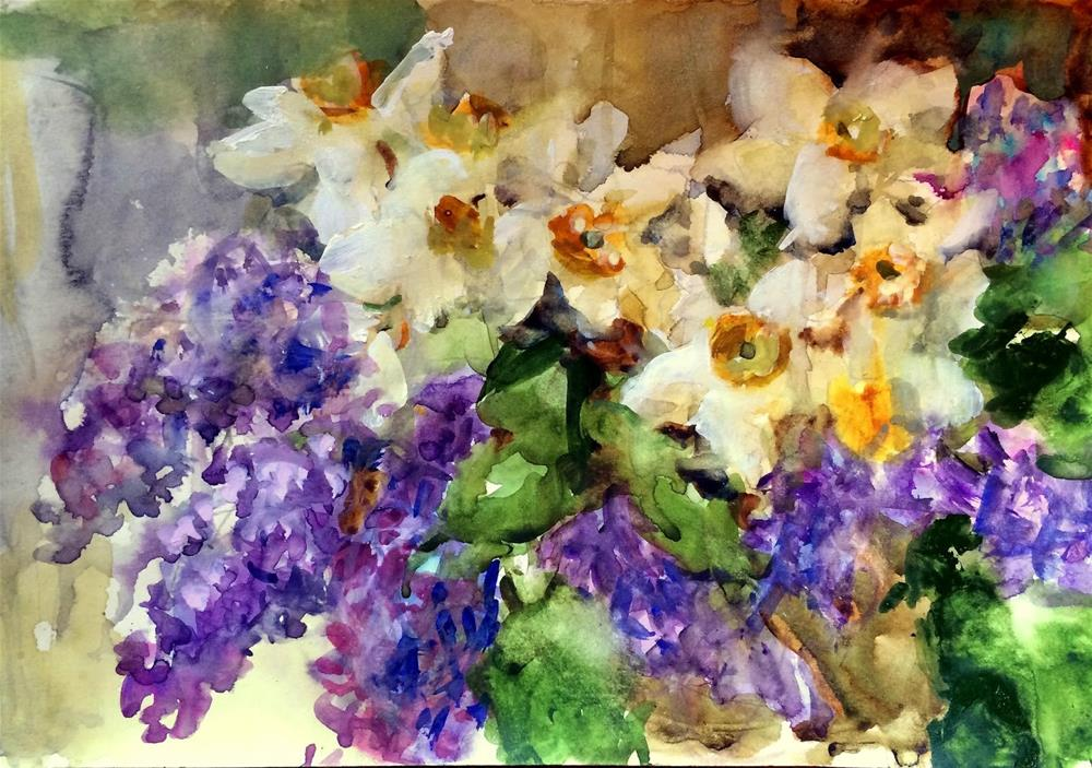 """Narcissus and Lilacs  (painted in car)"" original fine art by Julie Ford Oliver"
