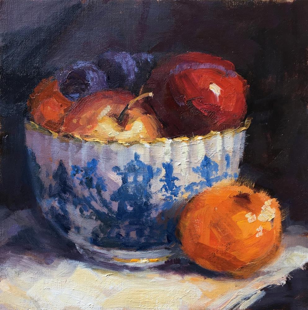 """Blue Bowl & Fruit"" original fine art by Mo Teeuw"