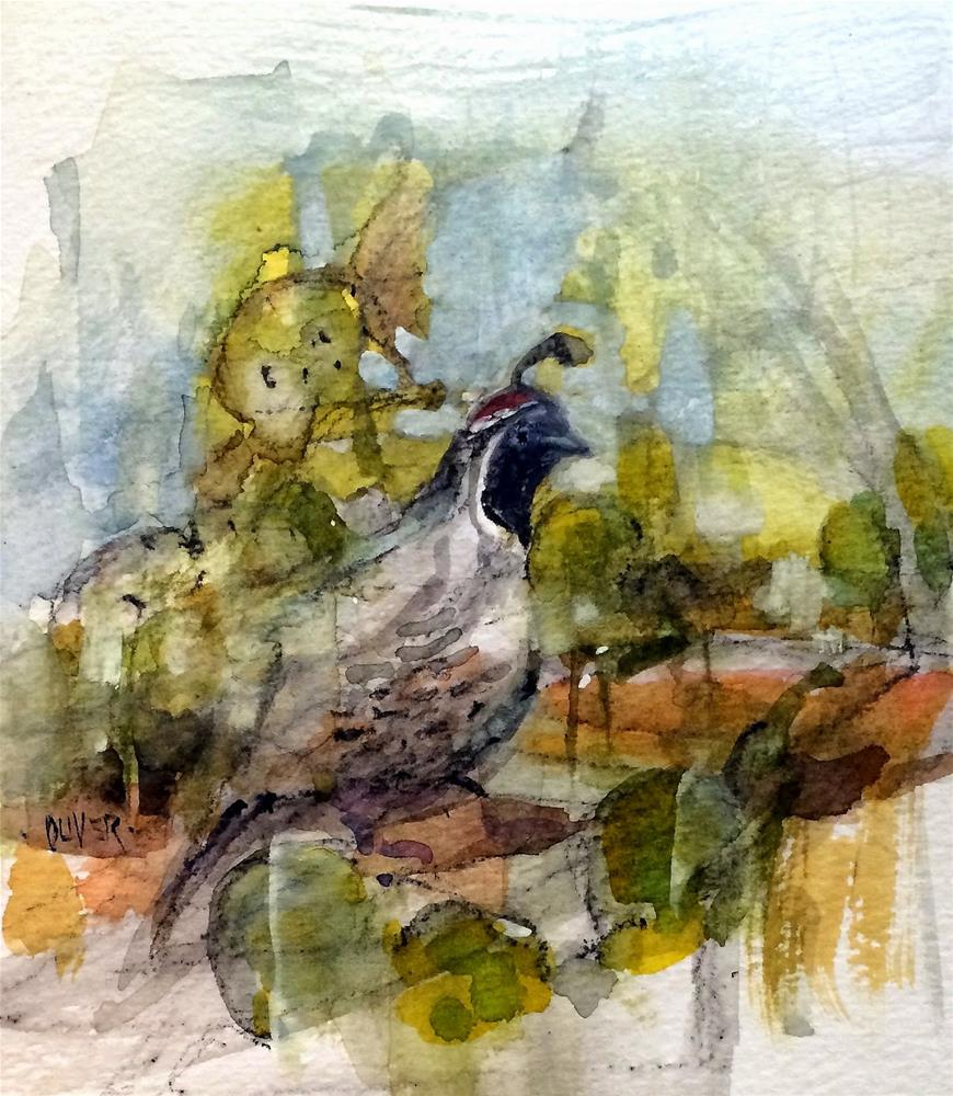 """""""Mr. Quail - day 6 in the challenge"""" original fine art by Julie Ford Oliver"""