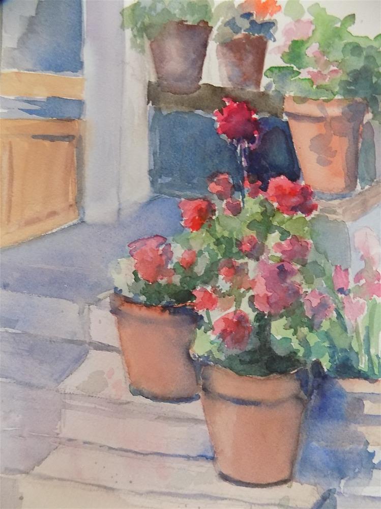 """Geraniums #5"" original fine art by Joan Reive"