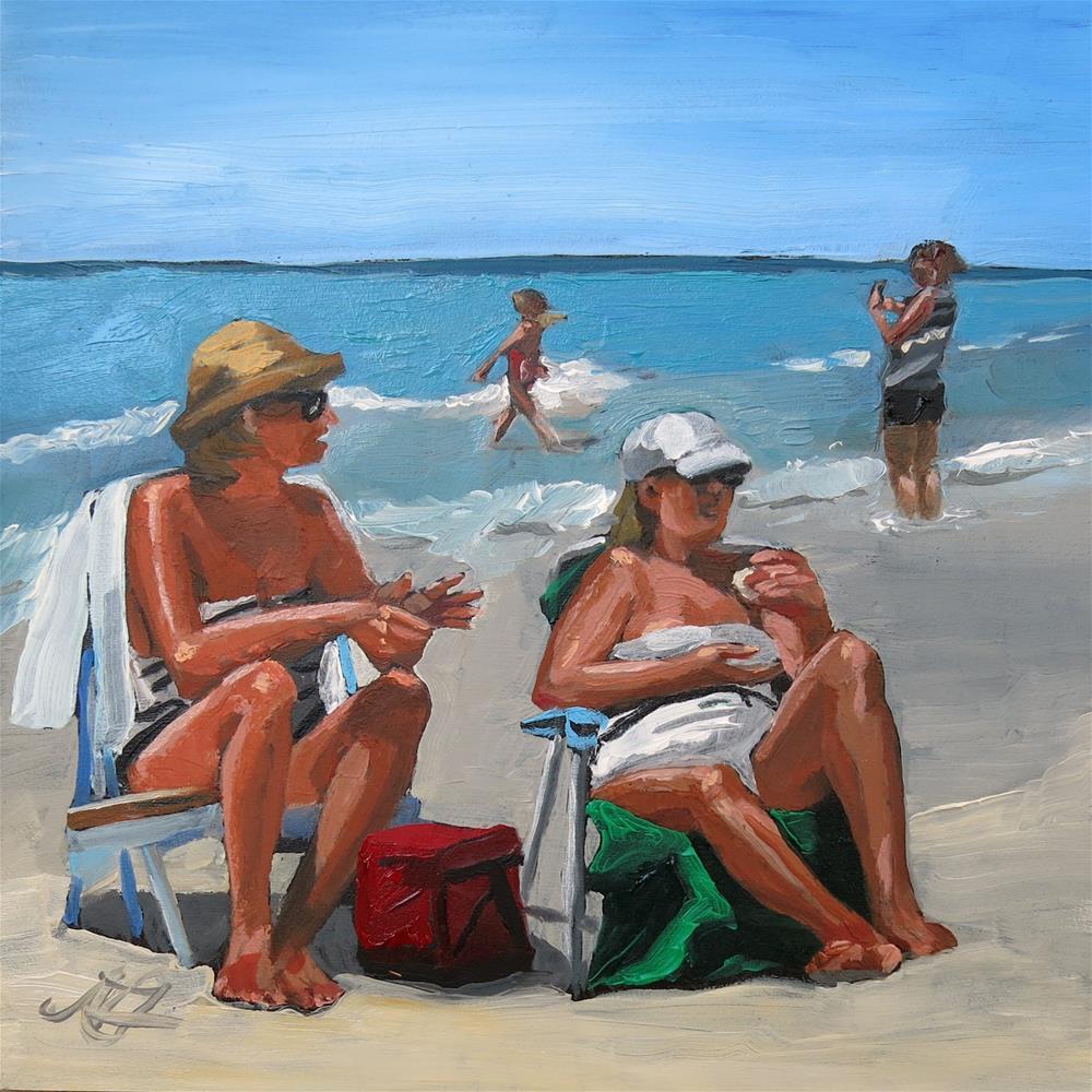 """Surfside Conversation"" original fine art by Nancy Fairchild"