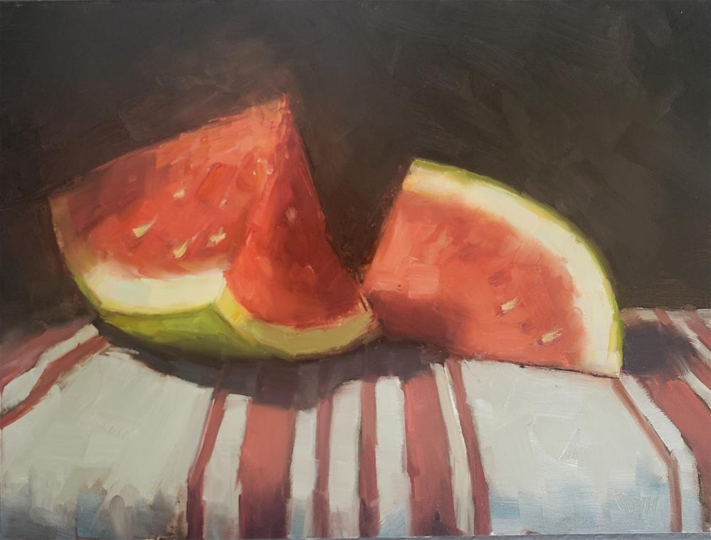"""Watermelon on Striped Cloth"" original fine art by Barbie Smith"