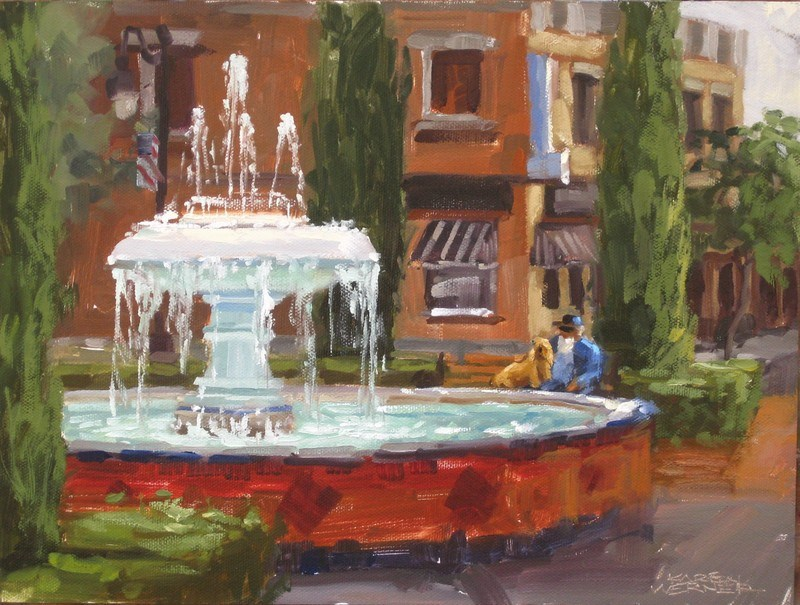 """Fountain Rest  "" original fine art by Karen Werner"