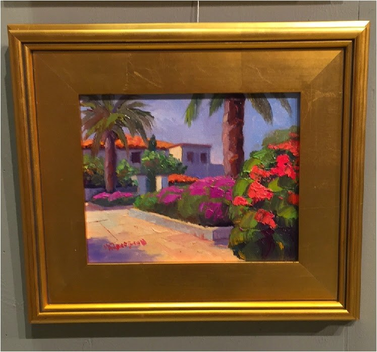 """Afternoon Garden, 8x10, oil on panel, plein air, Lighthouse Plein air Festival, Palm Beach, Jupite"" original fine art by Maryanne Jacobsen"