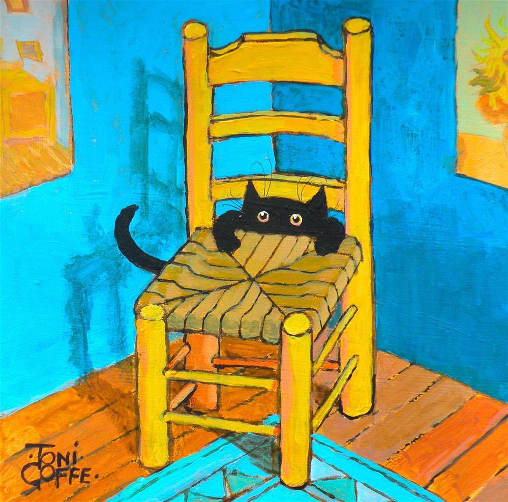 """""""Vincent's New Cat"""" original fine art by Toni Goffe"""