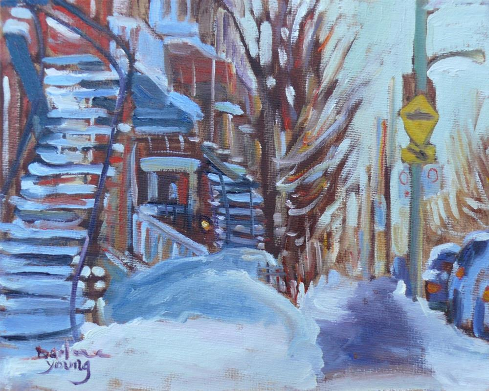 """1001 Mile End, Montreal Winter Scene, 8x10, oil on board"" original fine art by Darlene Young"