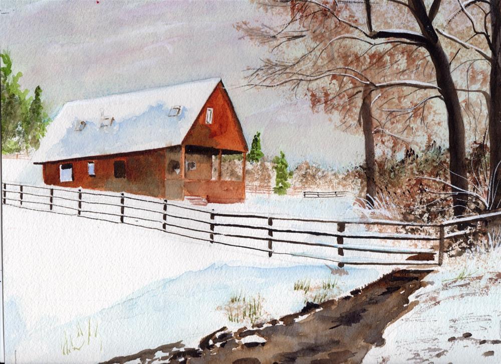 """""""Snowy Scene"""" original fine art by Bunny Griffeth"""
