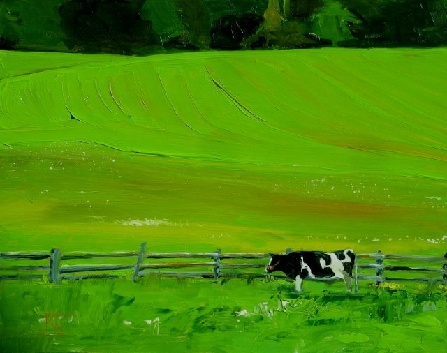 """""""Puzzled Cow Fenced In  oil landscape painting"""" original fine art by Robin Weiss"""