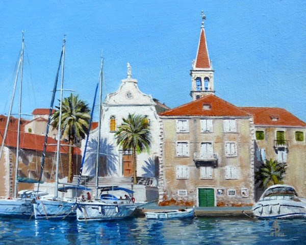 """Milna, Croatia"" original fine art by Alix Baker PCAFAS AUA"