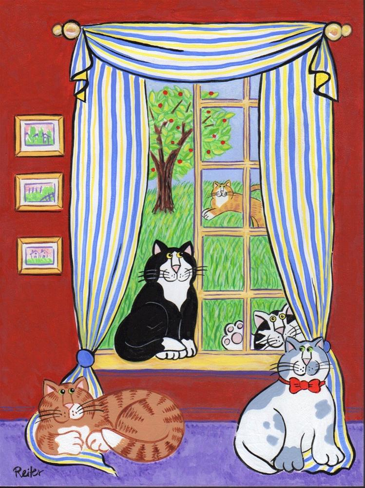 """""""Cats by The Window"""" original fine art by Candace Reiter"""