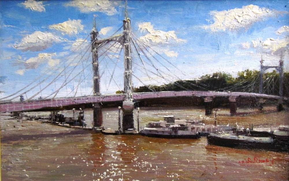 """Morning Sparkling Light, Albert Bridge"" original fine art by Adebanji Alade"