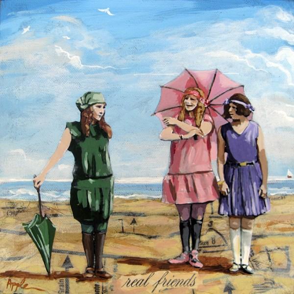 """Real Friends - figurative vintage beach scene original"" original fine art by Linda Apple"