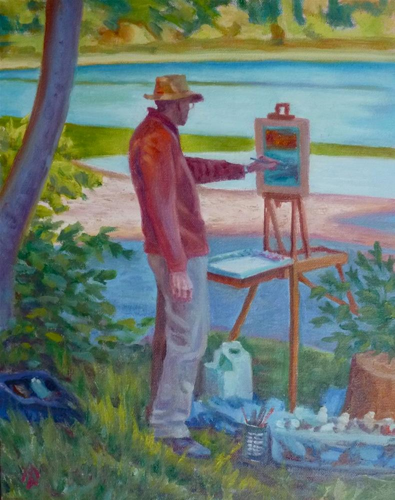 """""""Bill Painting at Clearlake"""" original fine art by Mark Allison"""
