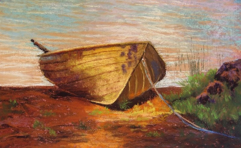 """The Yellow Boat"" original fine art by Ruth Mann"