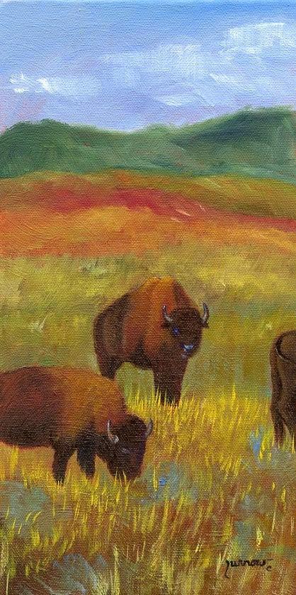 """GRAZING  ORIGINAL PAINTING OF THE NATIVE BISON"" original fine art by Sue Furrow"