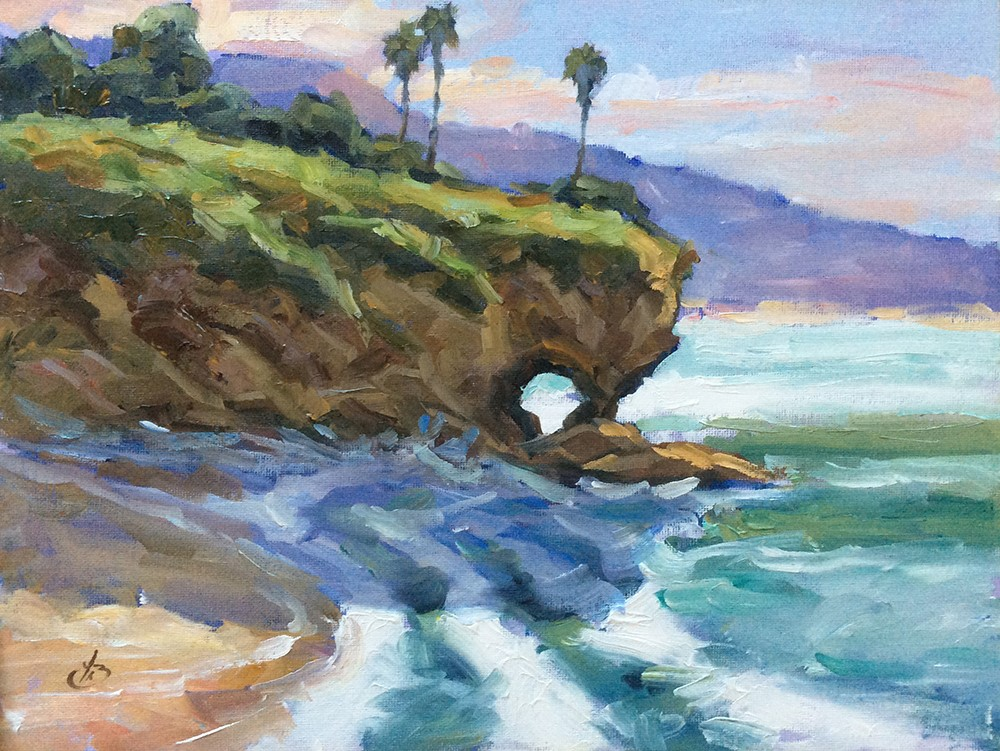 """KEYHOLE ROCK LAGUNA BEACH"" original fine art by Tom Brown"