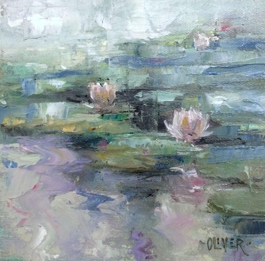 """""""LilyPond - Misty Morning"""" original fine art by Julie Ford Oliver"""