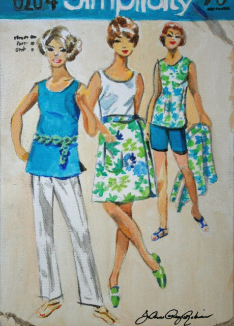 """""""Vintage Tops and Bottoms"""" original fine art by JoAnne Perez Robinson"""