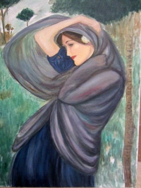 """""""Study .from Waterhouse  not for sale underpainting"""" original fine art by Astrid Buchhammer"""