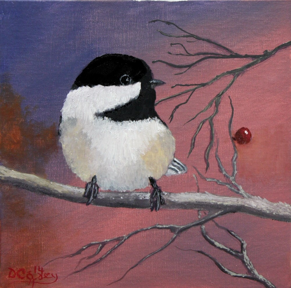 """""""Avian Series - Chickadee 002a 8x8 oil on linen panel - The Daily Painter"""" original fine art by Dave Casey"""