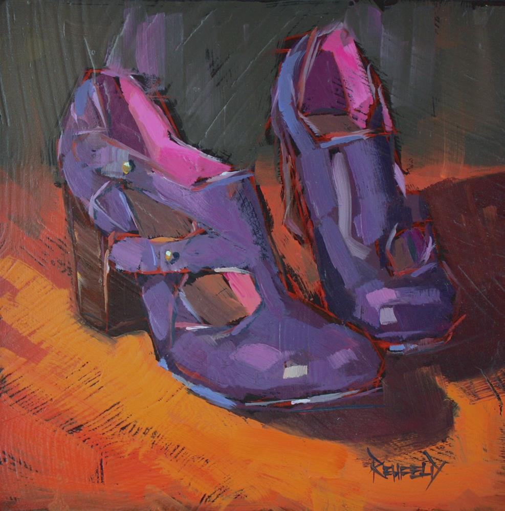 """Shoe Fiend! #6 Purple Booties"" original fine art by Cathleen Rehfeld"