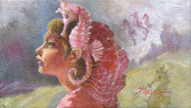 """Seahorse Communications Device"" original fine art by Theresa Taylor Bayer"